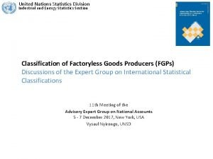 United Nations Statistics Division Industrial and Energy Statistics