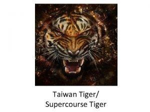 Taiwan Tiger Supercourse Tiger 2012 Taiwan Health Forum