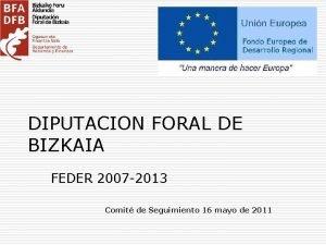 DIPUTACION FORAL DE BIZKAIA FEDER 2007 2013 Comit