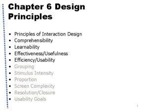 Chapter 6 Design Principles Principles of Interaction Design