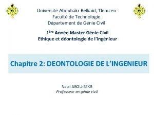 Universit Aboubakr Belkaid Tlemcen Facult de Technologie Dpartement