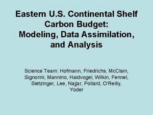 Eastern U S Continental Shelf Carbon Budget Modeling
