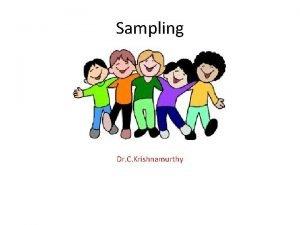 Sampling Dr C Krishnamurthy Sampling is the process