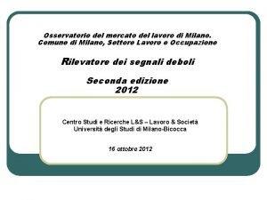 Osservatorio del mercato del lavoro di Milano Comune