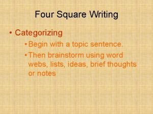 Four Square Writing Categorizing Begin with a topic