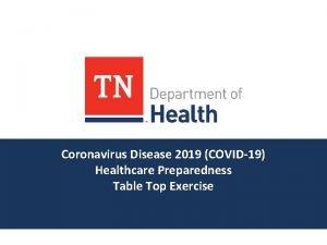 Coronavirus Disease 2019 COVID19 Healthcare Preparedness Table Top