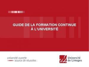 GUIDE DE LA FORMATION CONTINUE LUNIVERSIT Formation Initiale