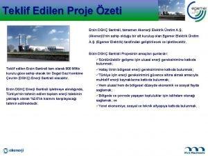 Teklif Edilen Proje zeti Erzin DGK Santrali tamamen