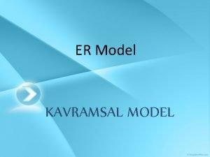 ER Model KAVRAMSAL MODEL KAVRAMSAL MODEL Conceptual Model