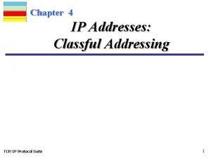 Chapter 4 IP Addresses Classful Addressing TCPIP Protocol