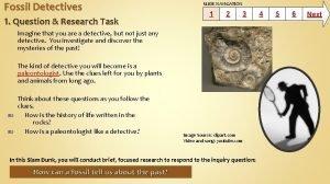 Fossil Detectives 1 Question Research Task SLIDE NAVIGATION
