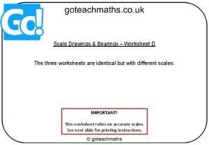 Scale Drawings Bearings Worksheet D The three worksheets