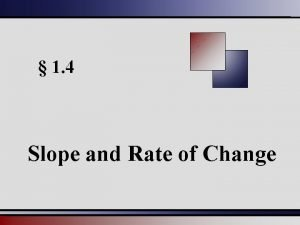 1 4 Slope and Rate of Change Slope