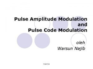 Pulse Amplitude Modulation and Pulse Code Modulation oleh