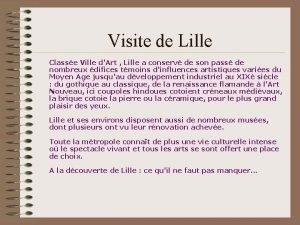 Visite de Lille Classe Ville dArt Lille a