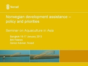 Norwegian development assistance policy and priorities Seminar on