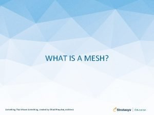 WHAT IS A MESH Something That Moves Something
