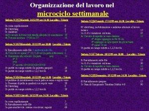 Organizzazione del lavoro nel microciclo settimanale Seduta N