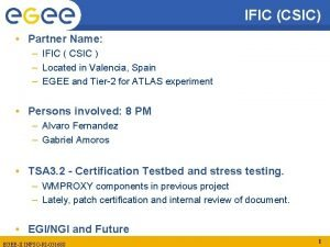IFIC CSIC Partner Name IFIC CSIC Located in