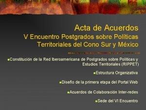 Acta de Acuerdos V Encuentro Postgrados sobre Polticas