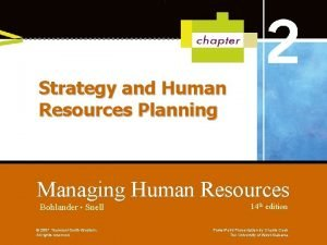 Strategy and Human Resources Planning Managing Human Resources
