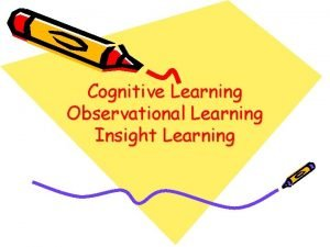Cognitive Learning Observational Learning Insight Learning Cognitive Learning