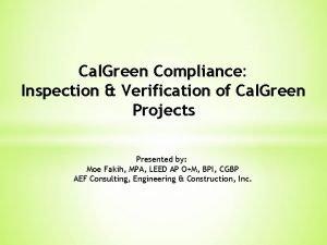 Cal Green Compliance Inspection Verification of Cal Green
