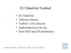 EU Data Grid Testbed EU Data Grid Software