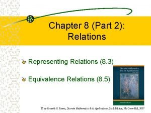 Chapter 8 Part 2 Relations Representing Relations 8