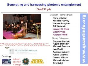 Generating and harnessing photonic entanglement Quantum Technology Lab
