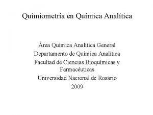 Quimiometra en Qumica Analtica rea Qumica Analtica General