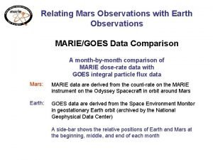 Relating Mars Observations with Earth Observations MARIEGOES Data
