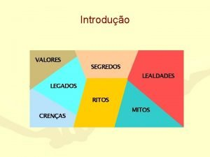 Introduo VALORES SEGREDOS LEALDADES LEGADOS RITOS CRENAS MITOS