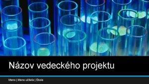 Nzov vedeckho projektu Meno Meno uitea kola Sem