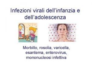 Infezioni virali dellinfanzia e delladolescenza Morbillo rosolia varicella