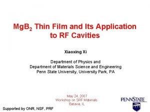 Mg B 2 Thin Film and Its Application