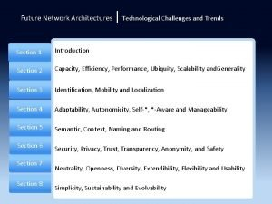 Future Network Architectures Technological Challenges and Trends Section
