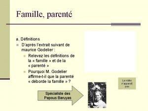 Famille parent a Dfinitions n Daprs lextrait suivant
