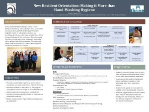 New Resident Orientation Making it More than HandWashing