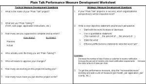 Plain Talk Performance Measure Development Worksheet Strategic Measure