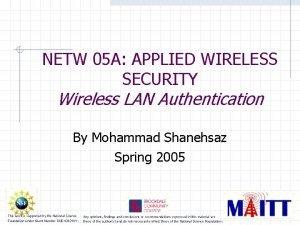NETW 05 A APPLIED WIRELESS SECURITY Wireless LAN