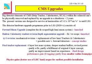 LEB 4 Mar 2011 AB CMS Upgrades Big