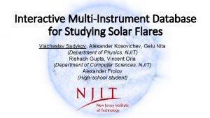 Interactive MultiInstrument Database for Studying Solar Flares Viacheslav