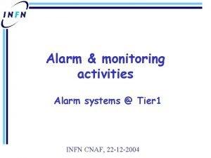 Alarm monitoring activities Alarm systems Tier 1 INFN
