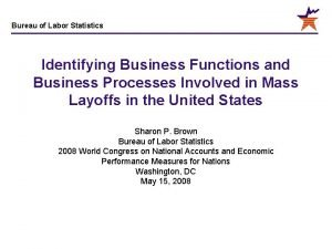 Bureau of Labor Statistics Identifying Business Functions and