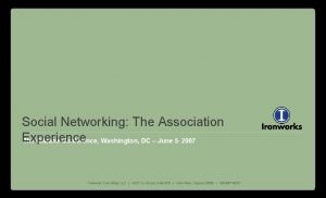 Social Networking The Association Experience The Gilbane Conference
