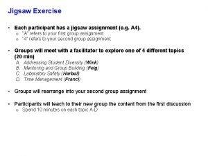 Jigsaw Exercise Each participant has a jigsaw assignment