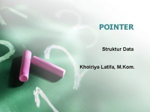 POINTER Struktur Data Khoiriya Latifa M Kom POINTER