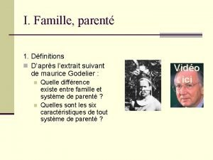 I Famille parent 1 Dfinitions n Daprs lextrait