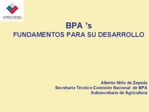 BPA s FUNDAMENTOS PARA SU DESARROLLO Alberto Nio